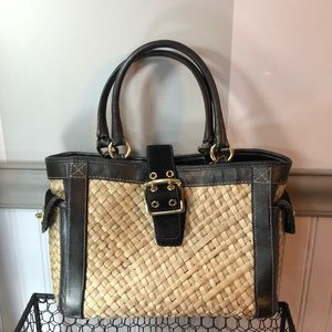 Coach- weaves handbag with leather trim